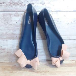 Melissa blue & pink bow ballet flats